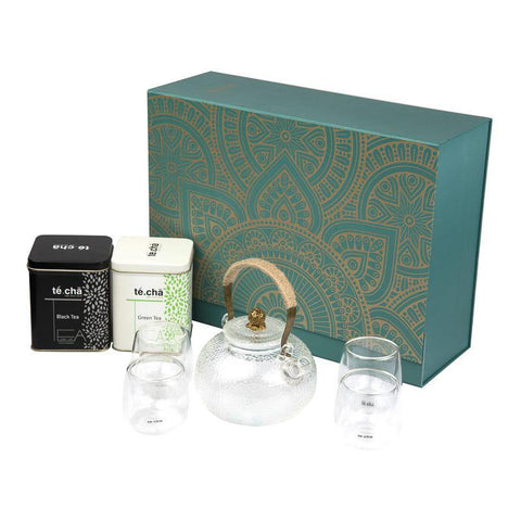 Te.Cha Blue Gift Box Set, Frosted Teapot & 4 Double Wall Glass Cups, Assorted 1 Box Green Tea & 1 Box Black Tea (10 Tea's in 1 Box)