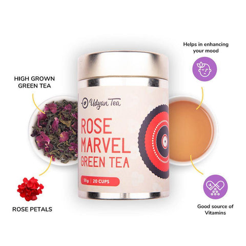 Udyan Tea - Rose Marvel Green Tea - 50 g | Green Tea, Red Rose Petals