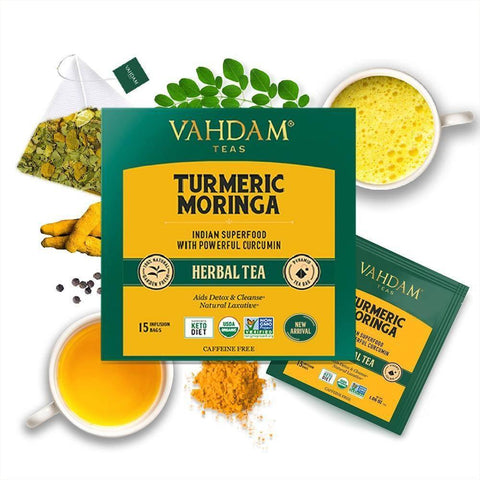 VAHDAM, Turmeric Moringa Herbal Tea Tisane - 15 Tea Bags