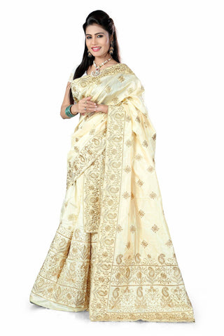 S. Kiran's Assamese Cream Embroidered Mekhela Chador - Mekhla Sador - Using Antique Jari
