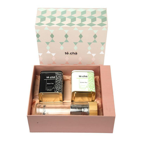 Te.Cha Pink Gift Box Set, Double Wall Glass Tea Infuser Flask with Bamboo Lid & Assorted 1 Box Green Tea – 1 Box Black Tea (10 Tea's in 1 Box)