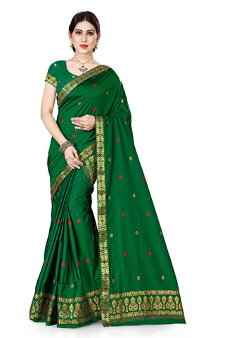 S Kiran's Assamese Machine-Weaving Poly Silk Mekhela Chador - Mekhla Sador - Poly3650Green
