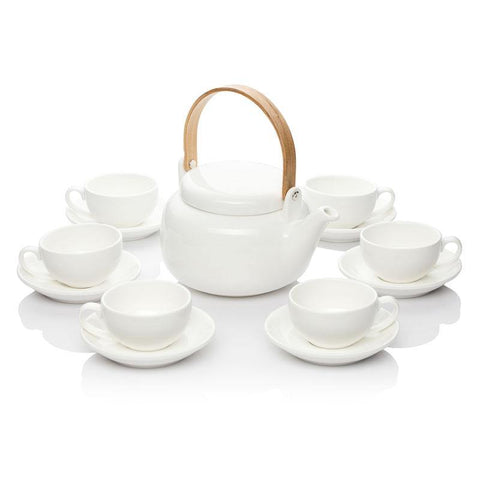 Te.Cha White Teapot set with Bamboo Handle