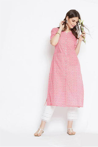 Women's Cotton Front Open Kurta In Pink
