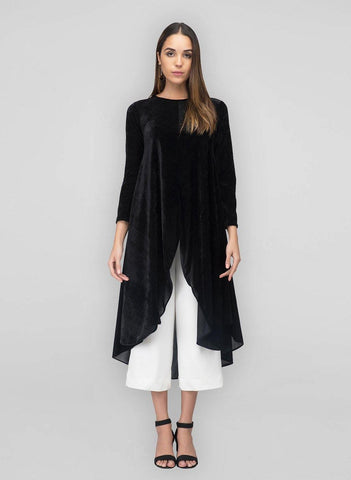 A black velvet a line kurta for women for winter