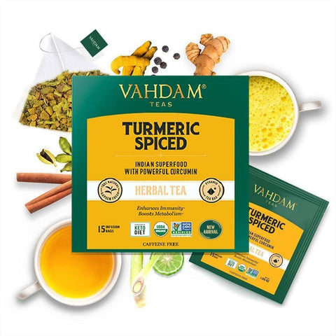 VAHDAM, Turmeric Spiced Herbal Tea Tisane- 15 Tea Bags