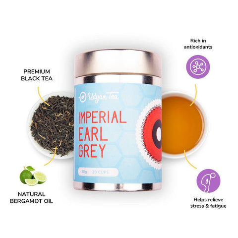 Udyan Tea - Imperial Earl Grey Black Tea - 50 g | Black Tea, Natural Bergamot flavour