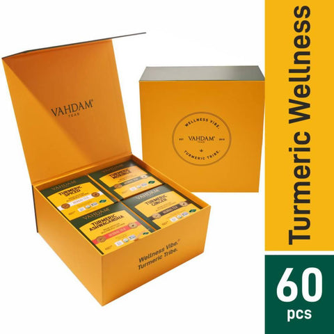 VAHDAM, Turmeric Wellness Kit - 60 Tea Bags