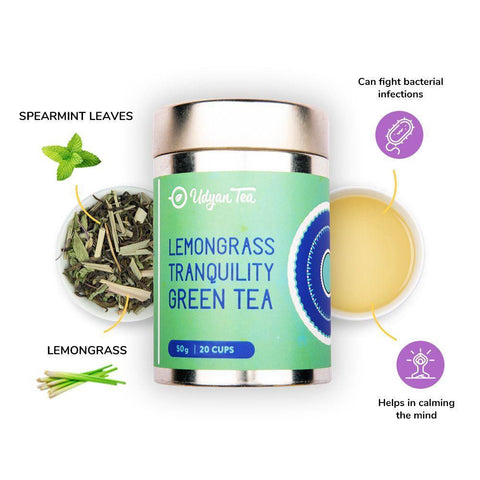 Udyan Tea - Lemongrass Tranquility Green Tea - 50 g | Green Tea, Lemongrass, Spearmint leaves