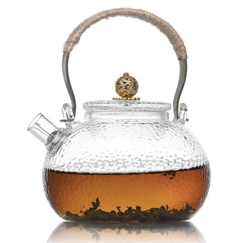 Te.Cha Traditional Style Golden Top Handle Tea Kettle, Frosted Borosilicate Glass with Stainless Steel Infuser Teapot Kettle, Clear (700ML)