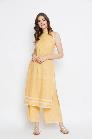 Yellow Lace Cotton Kurta