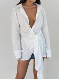 Gathered Wrap Shirt - White Linen