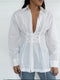 Lace Up Shirt - White Linen