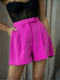 Pleat Shorts - Fuscia