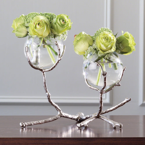 TWIG 2 VASE HOLDER-NICKEL