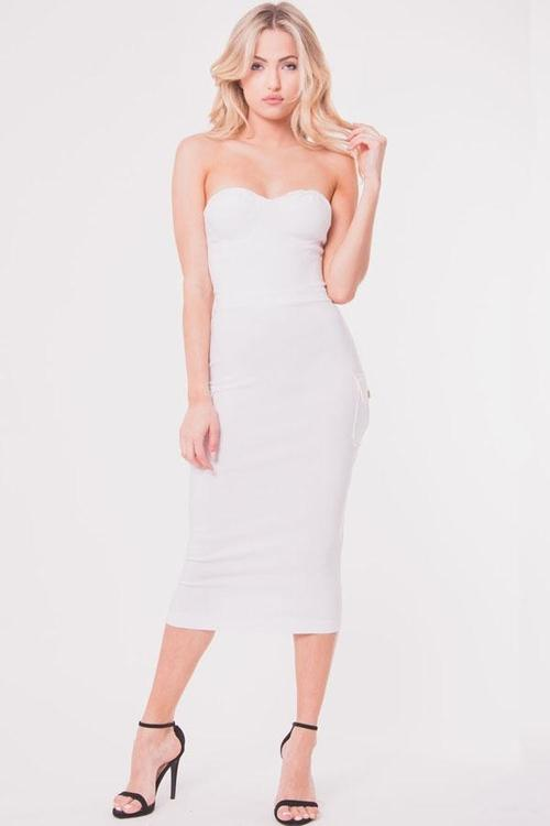 STRAPLESS BODY CON DRESS