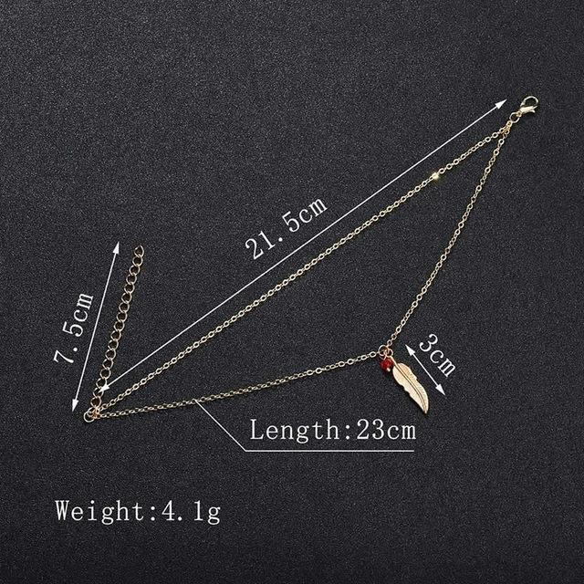 Double Chain Leaf Anklet Jewelry