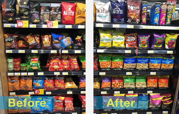 Before and After pictures of Multivo Max in Ravens Budgens store - HL POS Centre