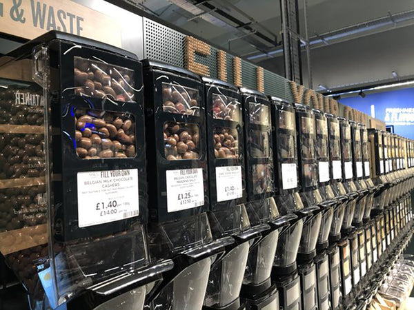 Coffee beans used in HL Display bulk bins for sustainability store for M&S