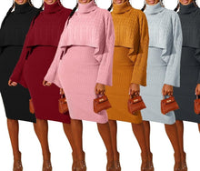 Load image into Gallery viewer, Turtleneck Cape Knitted Suit Two Piece Sweater Matching Sets