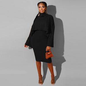 Turtleneck Cape Knitted Suit Two Piece Sweater Matching Sets
