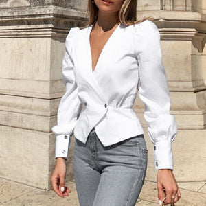 Winter White Blazer Blouse