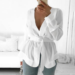 White Long Sleeve Peplum Casual Tunic Blouse With Belt