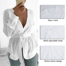 Load image into Gallery viewer, White Long Sleeve Peplum Casual Tunic Blouse With Belt