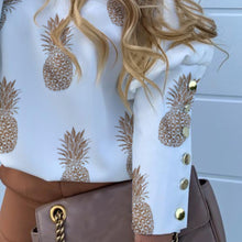 Load image into Gallery viewer, Letter \ Pineapple Buttons Back Blouse