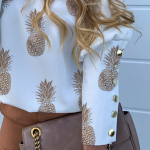 Letter \ Pineapple Buttons Back Blouse