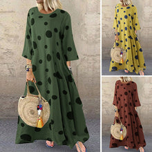 Load image into Gallery viewer, Polka Dot Green Maxi Dress with Pockets  | Plus Size