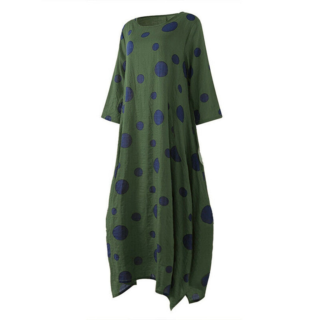 Polka Dot Green Maxi Dress with Pockets  | Plus Size