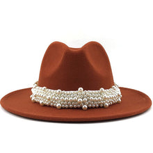 Load image into Gallery viewer, Pearl Ribbon Wide Brim Fedora Hat