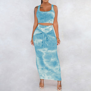 Tie Dye Bandage Two Piece Set Fashion Crop Tops Skirt Bodycon