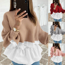 Load image into Gallery viewer, Ruffled Knitted Patchwork Sweater