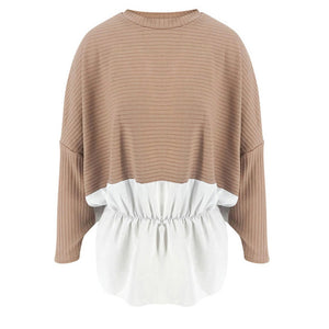 Ruffled Knitted Patchwork Sweater