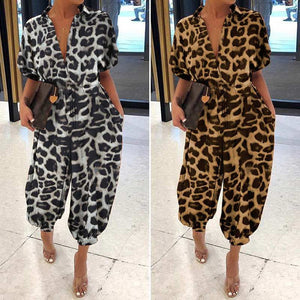 Classic Button Up Short Sleeve Jumpsuit with Pockets