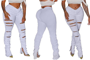Distressed Bottom Flare High Waist Trousers