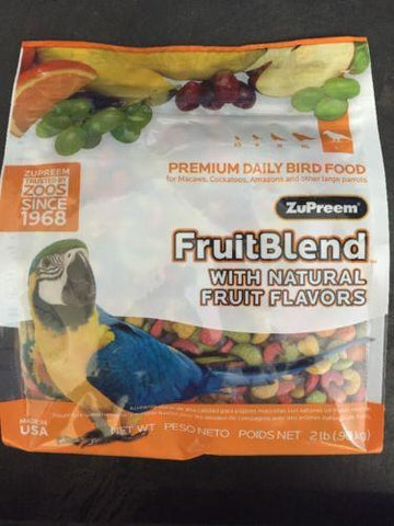 Zupreem FruitBlend Avian Pellet diet Parrot Food 2lb, Macaw, cockatoo, Amazon