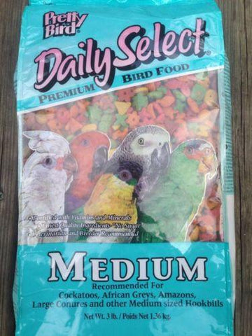 PRETTY BIRD PELLETS daily select medium, parrot food, african, amazon conure 8lb