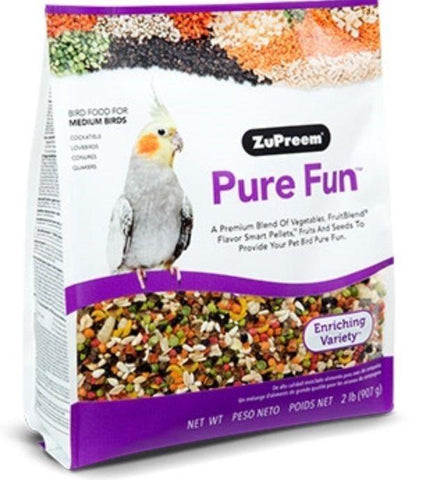 Zupreem PURE FUN BIRD FOOD Avian Diet Medium BIRDS 2lb