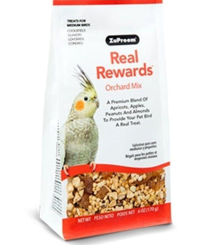 Zupreem REAL REWARDS ORCHARD MIX MEDIUM BIRD TREAT cockatiel keet food 6oz