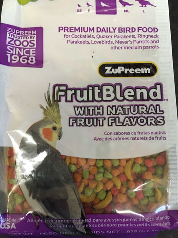 Zupreem FruitBlend Avian pellet diet bird Food, cockatiel, keet, ringneck 2lb