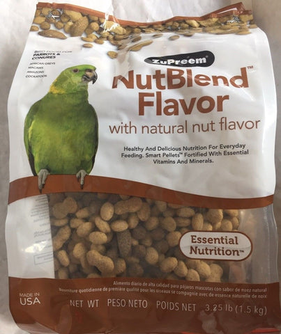 ZuPreem NutBlend bird food Avian diet parrot cockatoo vitamin minerals 3.25lb
