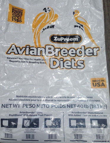 Zupreem Fruitblend Breeder Avian diet Parrot Conure 40lb pelet diet bird food