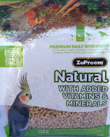Zupreem natural tiel diet pellet bird food VITAMINS MINERALS  cockatiel 2.5lb