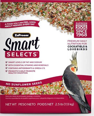 Zupreem smart selects cockatiel lovebird Bird food Parrot diet seeds mix  2.5lb