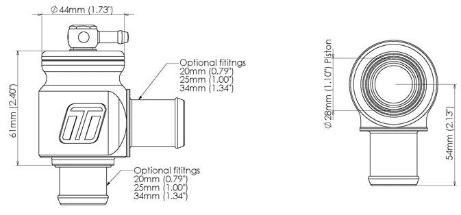 Turbosmart Kompact Plumb Back Blow Off Valve Dimension Specifications