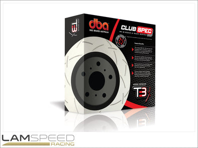 DBA - 4000 Series Club Spec T3 Slotted Rotors - Mitsubishi Evolution 4-9 - available from Lamspeed Racing.