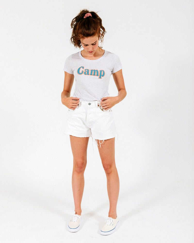 Summer Camp Fitted T-Shirt // Tri White Fleck